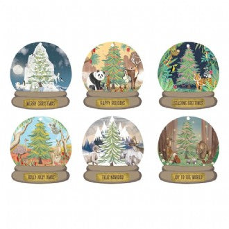 Christmas Gift Tag Set - Around the World Snow Globes