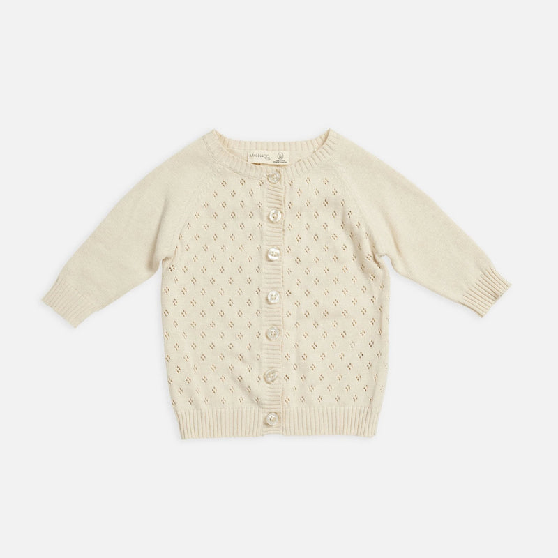 Knit Detail Cardigan in Eggnog by Miann & Co | The knit detail cardigan is a wardrobe staple for your little one during the cooler months. Made from natural cotton in a light textured knit | Stitch Piece Loop | Noosa Heads