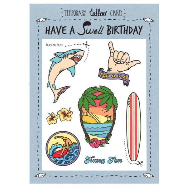 Tattoo Card - Birthday Swell Surf