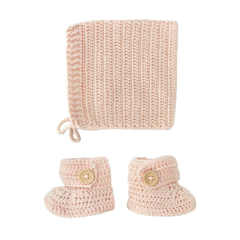 Handmade Crochet Baby Bonnet & Bootie Set in Peach by OB Designs | Stitch Piece Loop | This beautiful Crochet Bonnet & Bootie Set is Handmade with the best quality materials.  You can create the perfect keepsake image using this beautiful handmade crocheted bonnet and bootie set | Australia