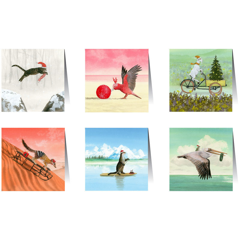 Christmas_Card_Sets_Christmas_Adventures_La_La_Land_Homewares_Australian_Design_Stitch_Piece_Loop_Noosa_Heads_Australia