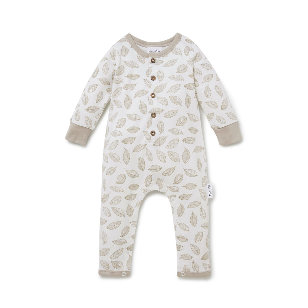 Leaf Drop Button Romper in White Alyssum by Aster & Oak | Stitch Piece Loop | Online + In Store | Noosa Heads | Shop a unique blend of Australian boutique fashion, gift & homewares, baby & children's clothing, & designer hand knitting yarn & craft fabric | Free Shipping on orders $50 & over