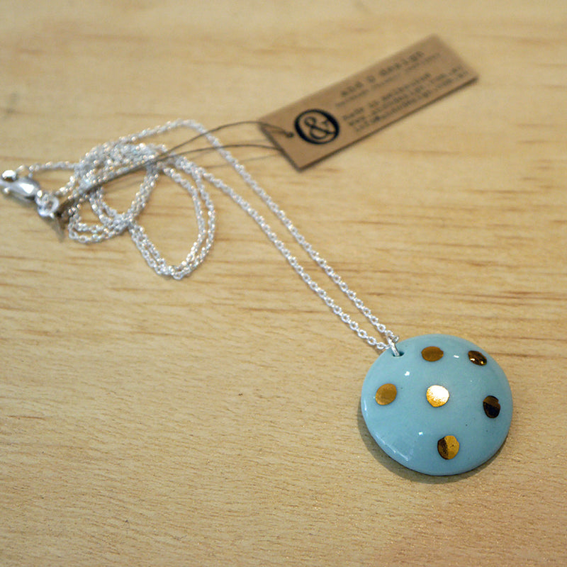 Porcelain Dome Necklace with Silver Chain Peppermint with Gold Lustre And O Design Stitch Piece Loop Online Australia
