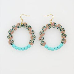 Frou Frou Earrings in Aqua by Hi Middle Child Stitch Piece Loop Noosa