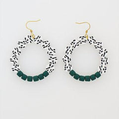 Frou Frou Earrings in Green by Hi Middle Child Stitch Piece Loop Noosa