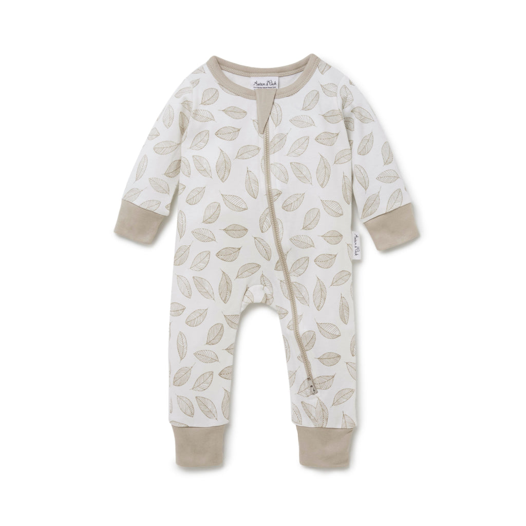 Leaf Drop Zip Romper in White Alyssum by Aster & Oak | Stitch Piece Loop | Online + In Store | Noosa Heads | Shop a unique blend of Australian boutique fashion, gift & homewares, baby & children's clothing, & designer hand knitting yarn & craft fabric | Free Shipping on orders $50 & over
