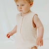 Sleeveless Bodysuit in Antique Gingham | Miann & Co | Baby & Children's Clothing & Gifts | Stitch Piece Loop | Noosa Heads | The Sleeveless Suit features a front placket with button opening at the centre front, allowing ease when dressing your little one. This is a perfect all-in-one piece for wriggly babies | Australia