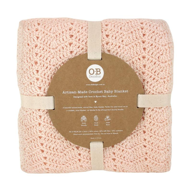 Handmade Crochet Baby Blanket in Peach by OB Designs | Stitch Piece Loop | This is a high-quality, classic baby blanket that will withstand the test of time. It is versatile and can be used as a swaddle, as a pram blanket, a cot blanket & an all-important security baby blanket | Australia