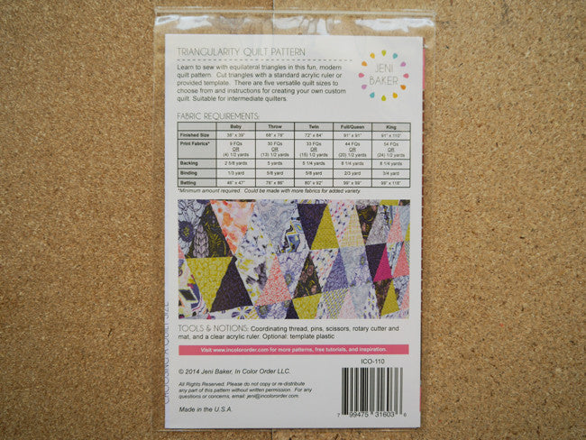 Triangularity Quilt Pattern by Jeni Baker Stitch Piece Loop
