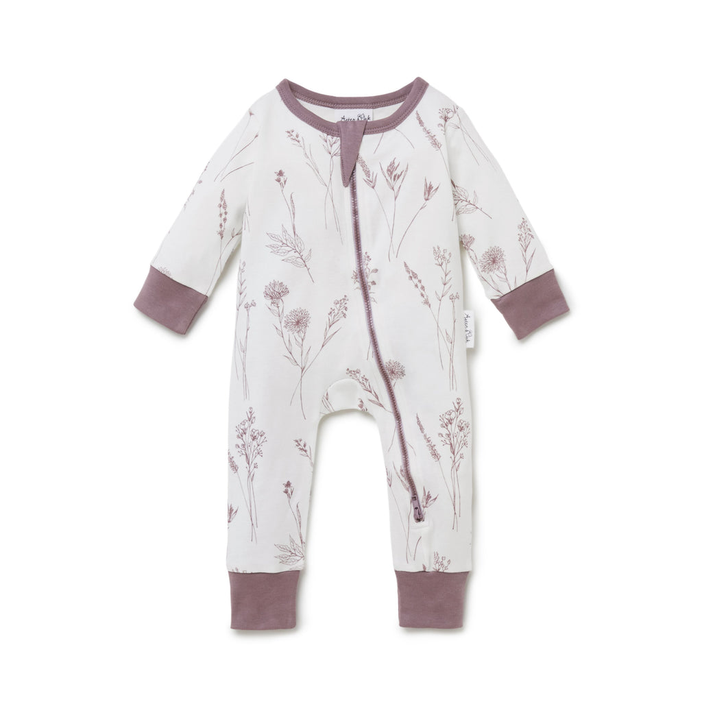 Native Flora Zip Romper in Antique White by Aster & Oak | Stitch Piece Loop | Online + In Store | Noosa Heads | Shop a unique blend of Australian boutique fashion, gift & homewares, baby & children's clothing, & designer hand knitting yarn & craft fabric | Free Shipping on orders $50 & over