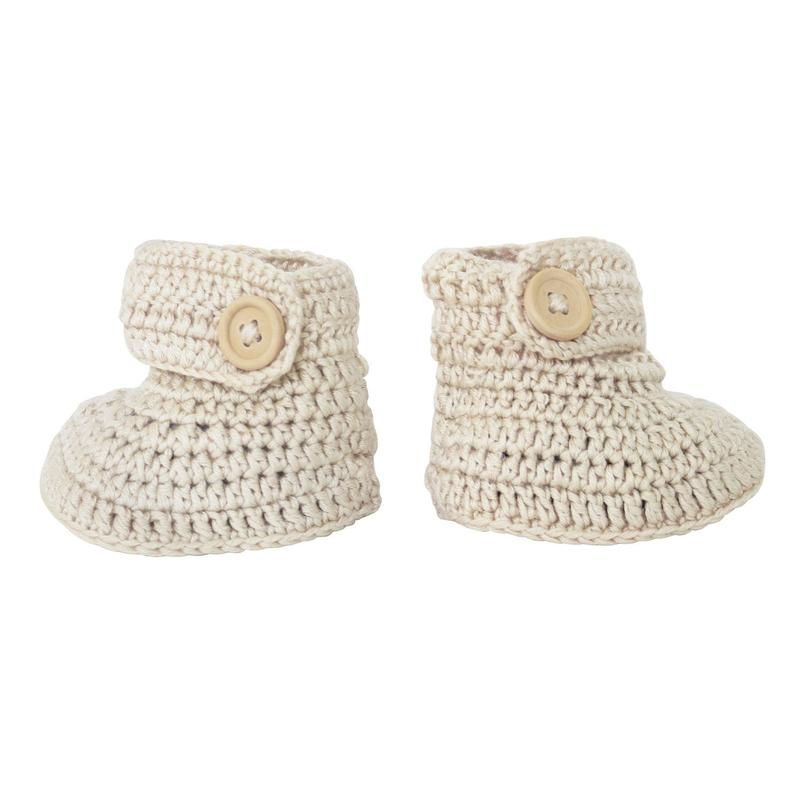 Handmade Crochet Baby Bonnet & Bootie Set in Vanilla by OB Designs | Stitch Piece Loop | This beautiful Crochet Bonnet & Bootie Set is Handmade with the best quality materials.  You can create the perfect keepsake image using this beautiful handmade crocheted bonnet and bootie set | Australia