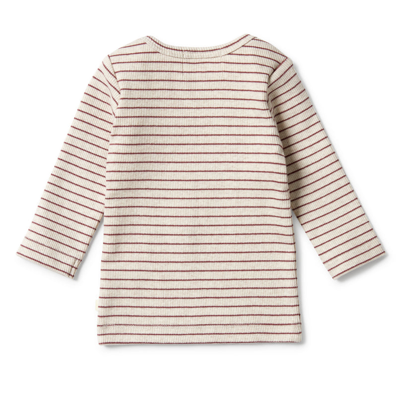 Organic Stripe Rib Top - Wild Ginger