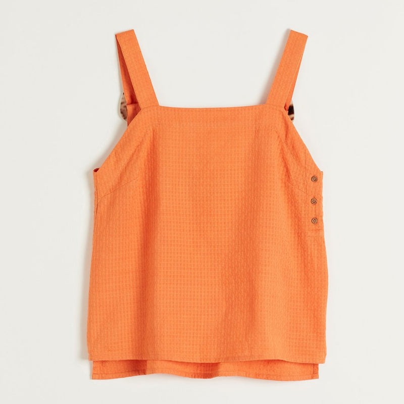 Wategos Tank in Orange | Nancybird | Womens Accessories & Clothing | Stitch Piece Loop | Noosa Heads | Made in textured cotton this tank adds a playful injection of colour to your wardrobe. This tank features adjustable thick straps and tortoiseshell back fastenings | Australia