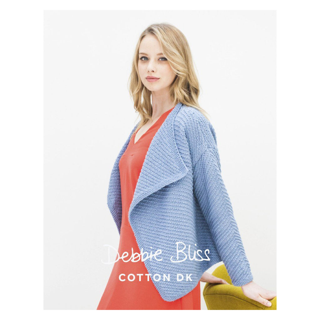 Debbie Bliss Waterfall Jacket Cotton DK Knitting Pattern Stitch Piece Loop Shop Online Australia