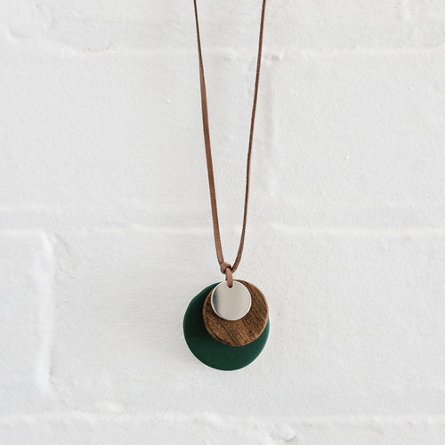 Evergreen Wood & Silver Drop Necklace