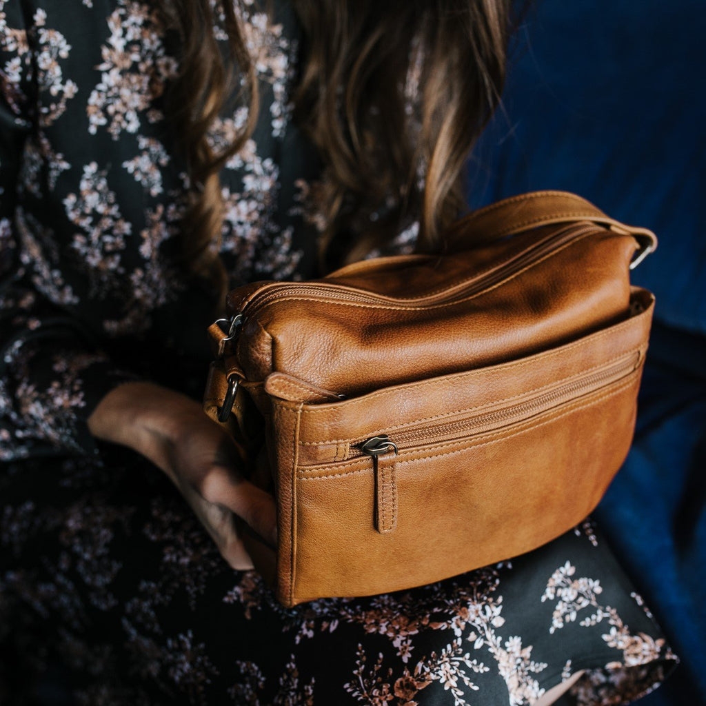 Alexa Bag in Tan by Dusky Robin Leather | available at Stitch Piece Loop Noosa | Noosa Heads | Shop In Store + Online | A unique blend of Australian boutique fashion + accessories; gift & homewares; baby + kids clothing, toys + gifts; + designer sewing fabrics + hand knitting yarns |