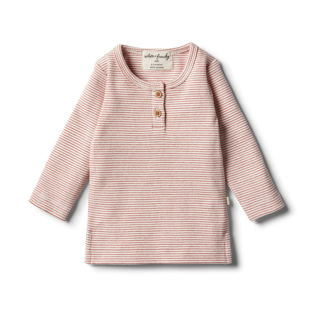 Organic Chilli Henley Top by Wilson & Frenchy | Stitch Piece Loop | Online + In Store | Noosa Heads | Shop a unique blend of Australian boutique fashion, gift & homewares, baby & children's clothing, & designer hand knitting yarn & craft fabric | Free Shipping on orders $100 & over
