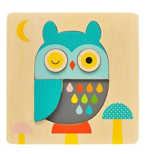 Owl Chunky Wooden Tray Puzzle | Petit Collage | Stitch Piece Loop | Noosa Heads | Shop In Store + Online | A unique blend of Australian boutique fashion + accessories; gift & homewares; baby + kids clothing, toys + gifts; + designer sewing fabrics + hand knitting yarns |