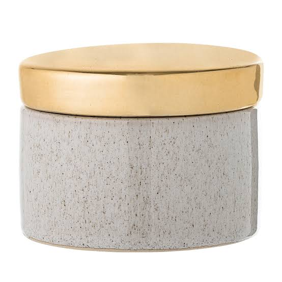 Stoneware Jar with Gold Lid by Bloomingville | Homewares | Home Decor | Stitch Piece Loop | Online + In Store | Shop a unique blend of boutique fashion, home + gift ware, baby clothing, toys & designer yarn & sewing fabric | Free Shipping on Orders $100 and Over | Sunshine Coast | Noosa Heads