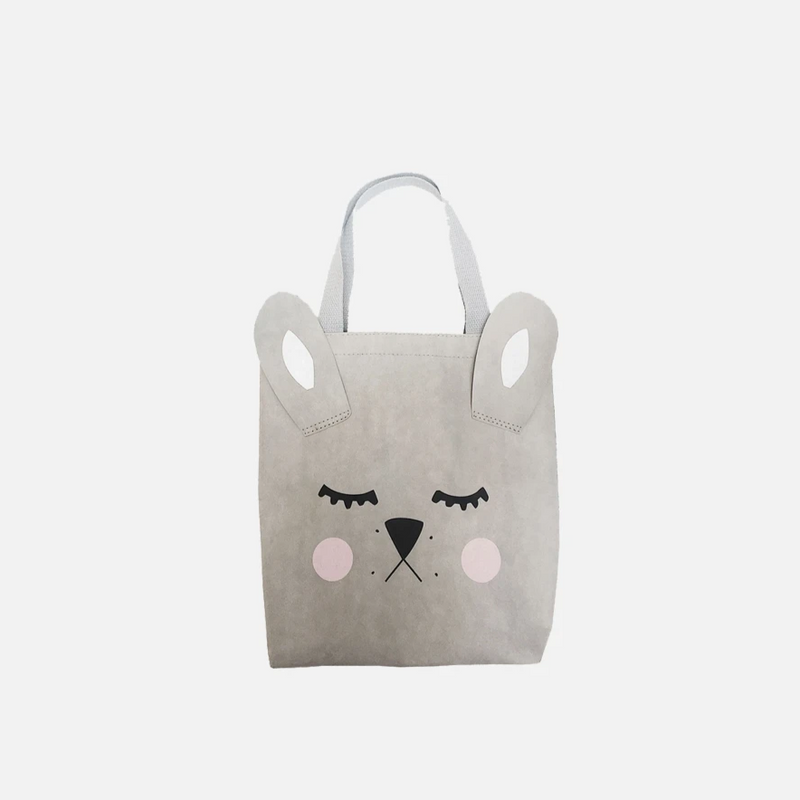 Bunny Tote Bag by Miann & Co | Made from washable paper range this grey unisex Bunny Tote is the perfect accessory for your little one. We love the idea of taking this on for a trip to the beach or on any family outings with your little adventurer. Also a perfect substitute to gift wrapping! | Stitch Piece Loop | Noosa Heads