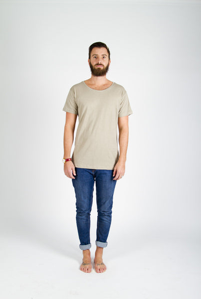 Vege Threads Men's Organic Scoop Tee - Taupe