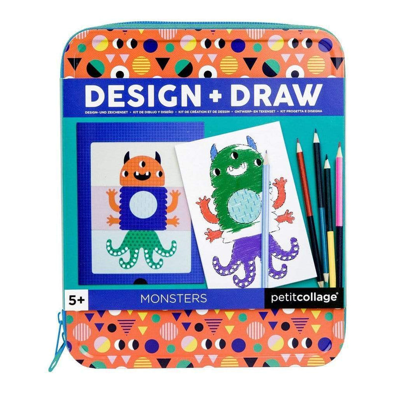 Design & Draw Monsters | Petit Collage | Stitch Piece Loop | Noosa Heads | Mix and match 24 cards to create your favorite combinations, and use the drawing pad included to bring your new monster friends to life! This magnetic activity comes in a keepsake tin case ready for on-the-go fun | Australia