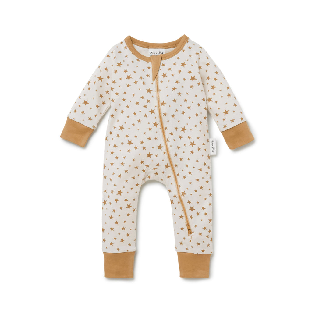 Taffy Star Zip Romper in Whisper White by Aster & Oak | Stitch Piece Loop | Online + In Store | Noosa Heads | Shop a unique blend of Australian boutique fashion, gift & homewares, baby & children's clothing, & designer hand knitting yarn & craft fabric | Free Shipping on orders $50 & over