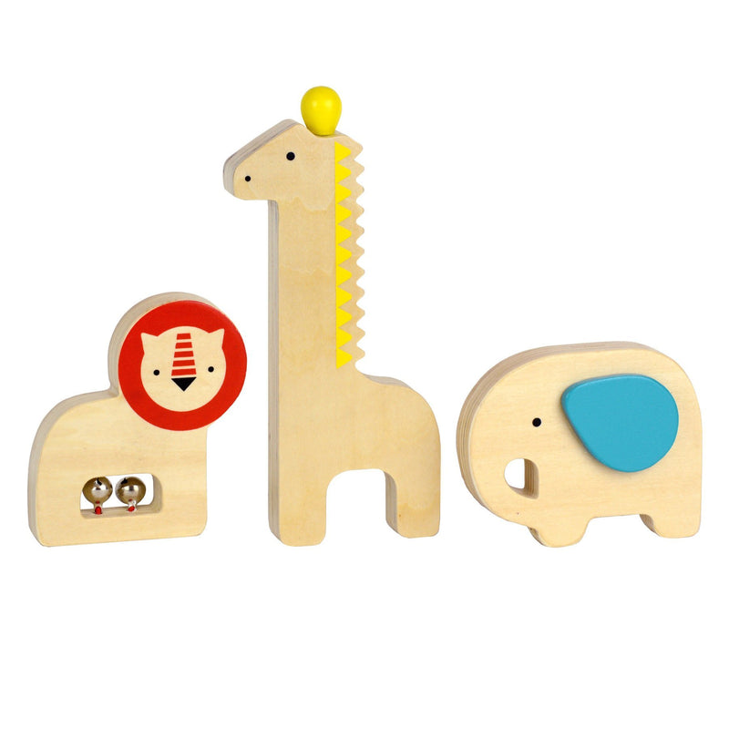 Musical Menagerie Wooden Instruments | Petit Collage | Stitch Piece Loop | This percussive instrument set is a great way to introduce rhythm and sound to your little ones. Includes an elephant shaker, giraffe guiro, and a lion with bells  | Australia
