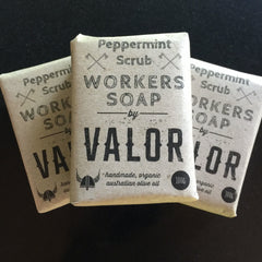Peppermint Scrub Workers Soap Bar Shave with Valor Stitch Piece Loop Shop Online Australia