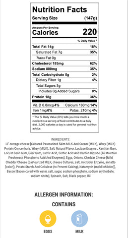 bacon and cheddar eggs nutritional info and ingredients
