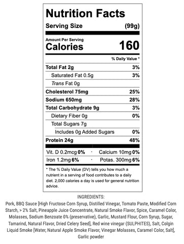 bbq pork nutrition info and ingredients