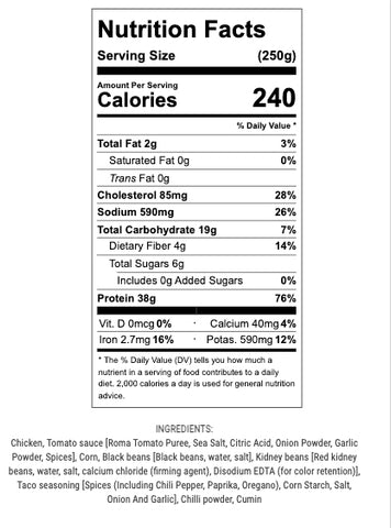 chicken taco chili nutritional info and ingredients