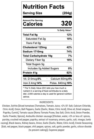 creole chicken and sausage nutrition info and ingredients