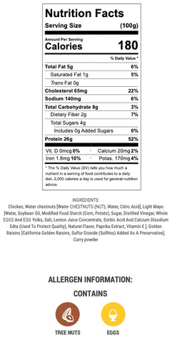 curry chicken salad nutritional info and ingredients
