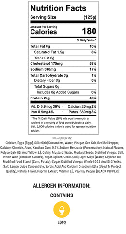 deviled egg chicken salad nutritional info and ingredients