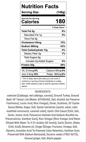 egg roll in a bowl nutritional info and ingredients