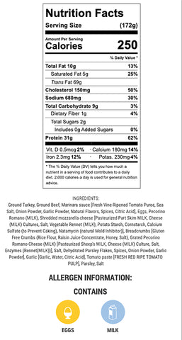 meatloaf nutritional info, ingredients and allergens