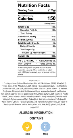 nutritional info and ingredients for pizza eggs