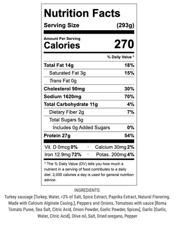 sausage peppers and onions nutrition info and ingredients