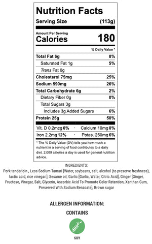 soy ginger pork nutritional info and ingredients