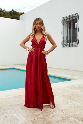 Girl On Fire Maxi Dress (Ruby)