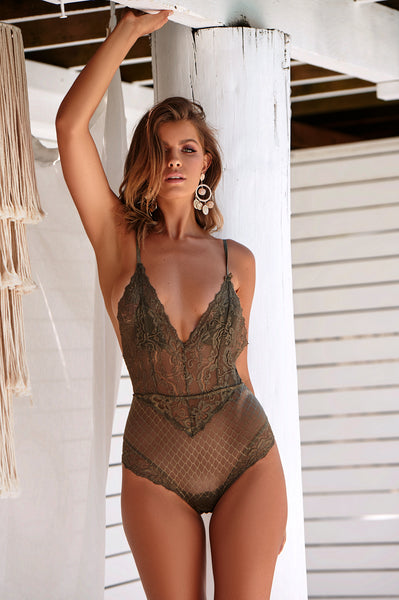 Intimate Night Bodysuit (Khaki)