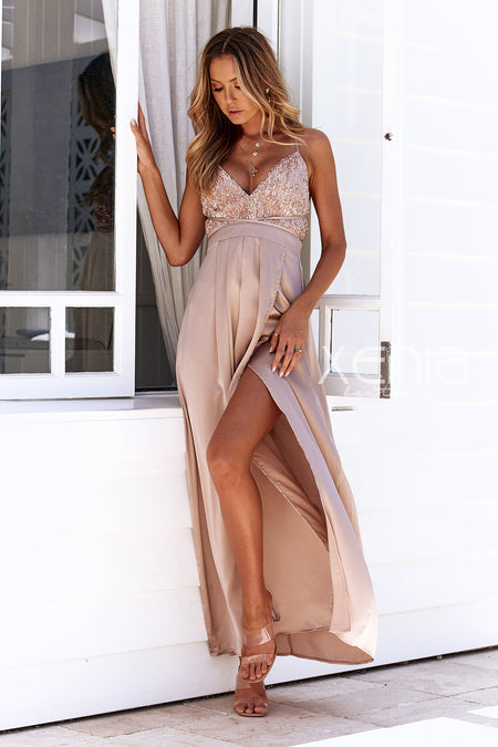 The Perfect Date Sequin Maxi Dress (Black) - SAMPLE SALE