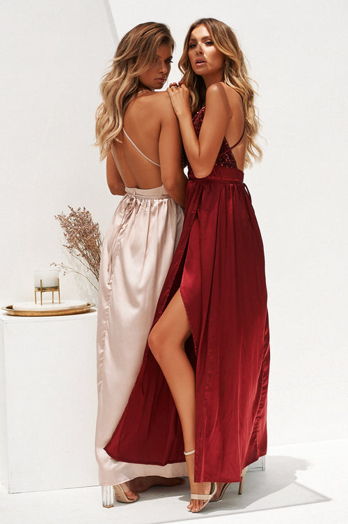 **Candice Maxi Dress (Burgundy)