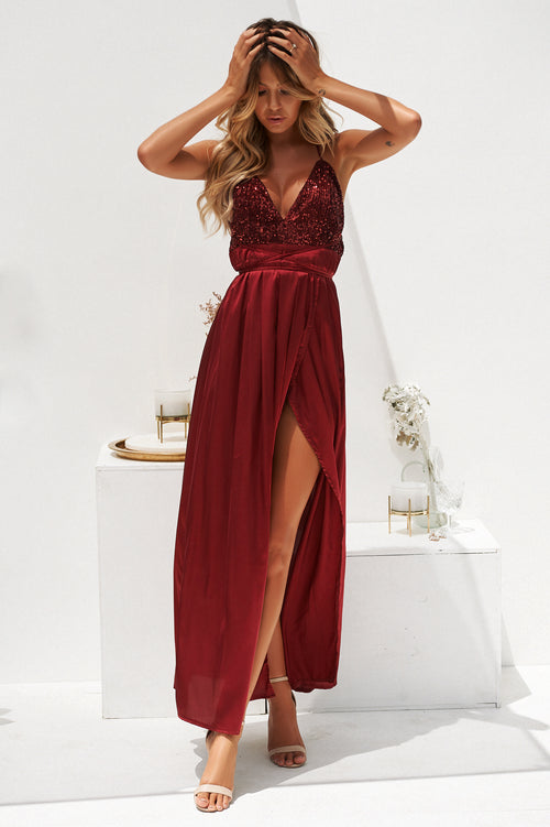 Candice Maxi Dress (Burgundy)