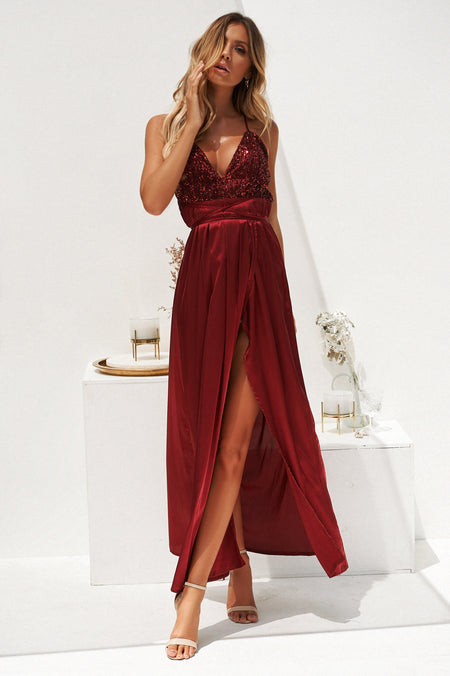 Glitter With A Kiss Maxi Dress (Pink/Rose Gold)