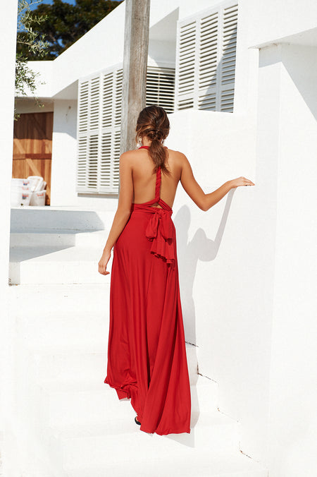 Lace Goddess Maxi Dress (Red)