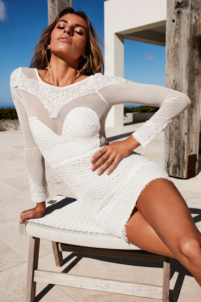 Falling From Grace Lace Dress (White) - SAMPLE SALE