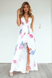Floral Fantasy Maxi Dress (White/Pink Floral)