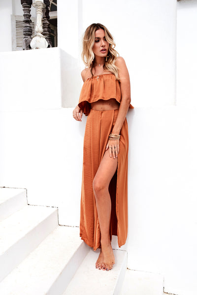 **Giorgia Satin Set (Burnt Orange)